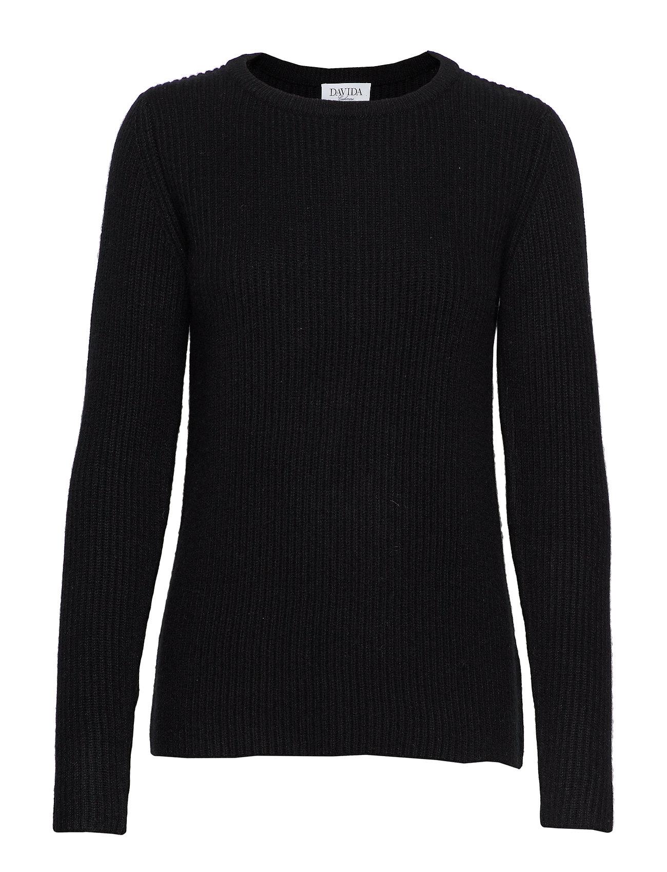 Davida Cashmere Chunky O-neck Rib Sweater - BLACK
