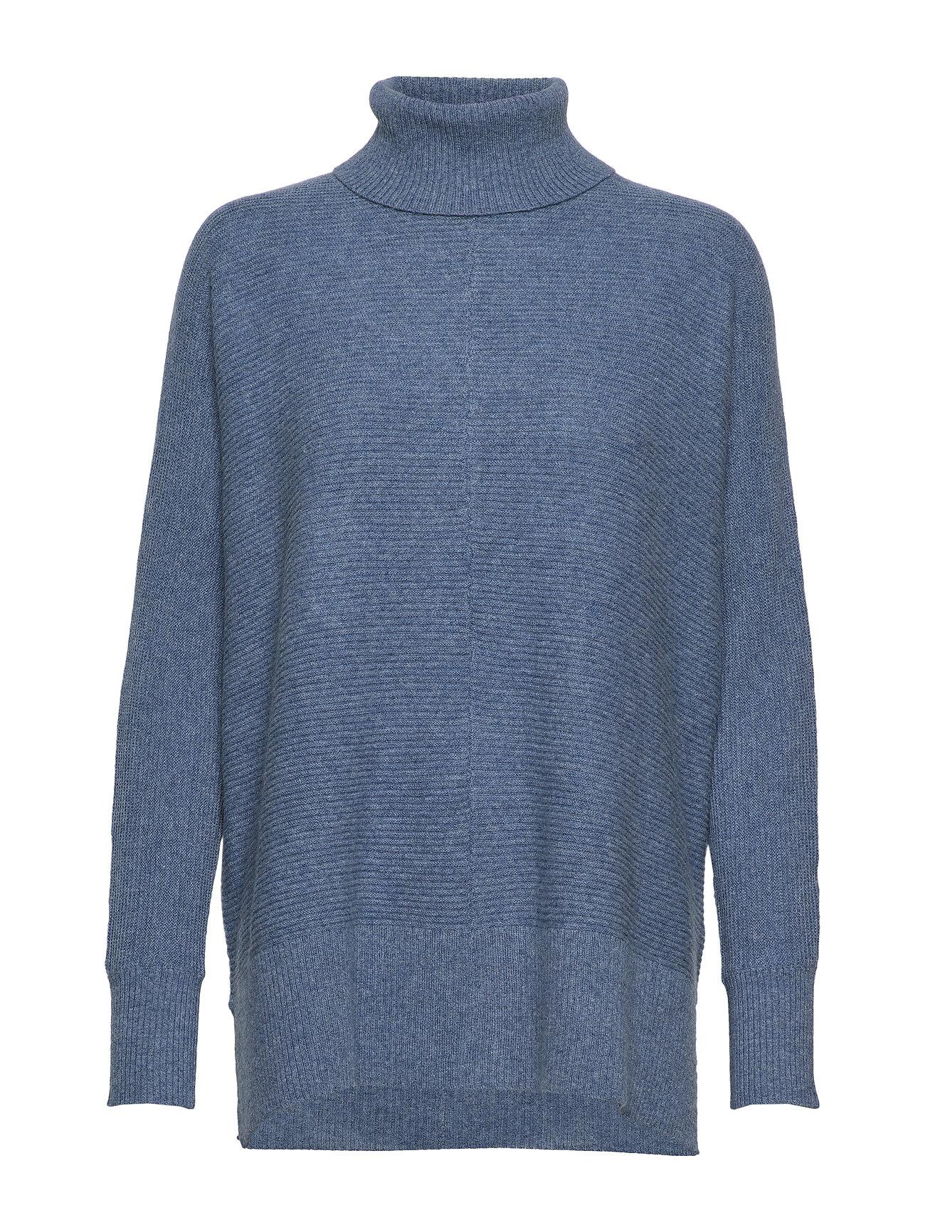 Davida Cashmere Rib Polo Loose Sweater - DUSTY BLUE