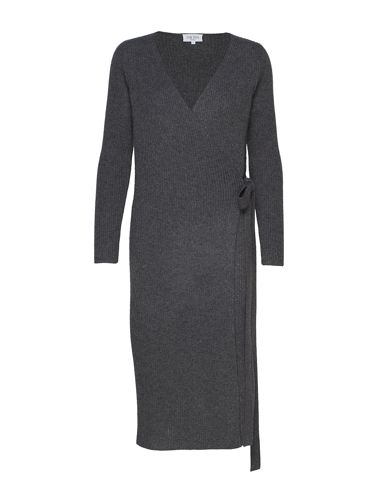 Davida Cashmere Wrap Rib Midi Dress - DARK GREY