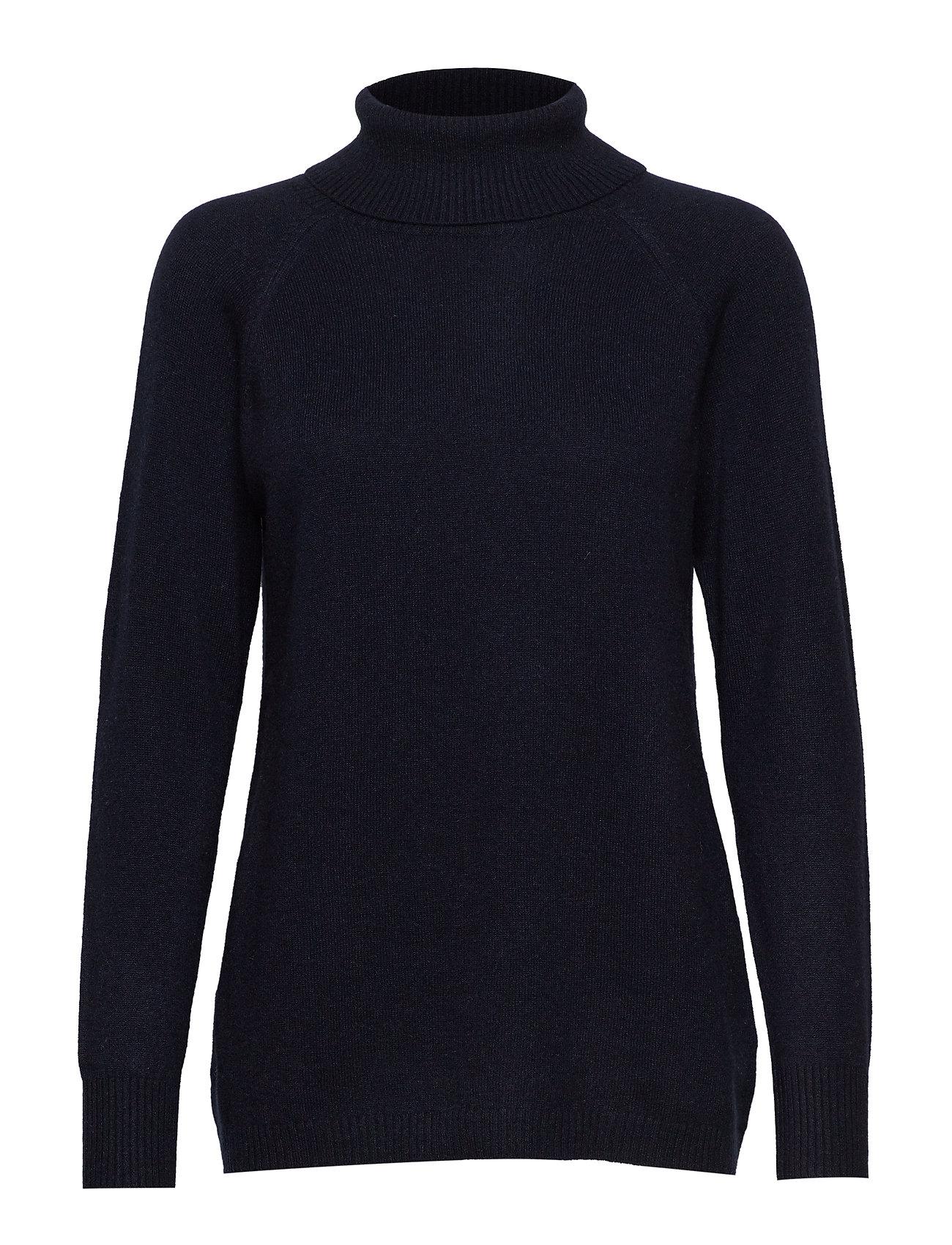 Davida Cashmere Raglan Turtleneck Loose Sweater - NAVY