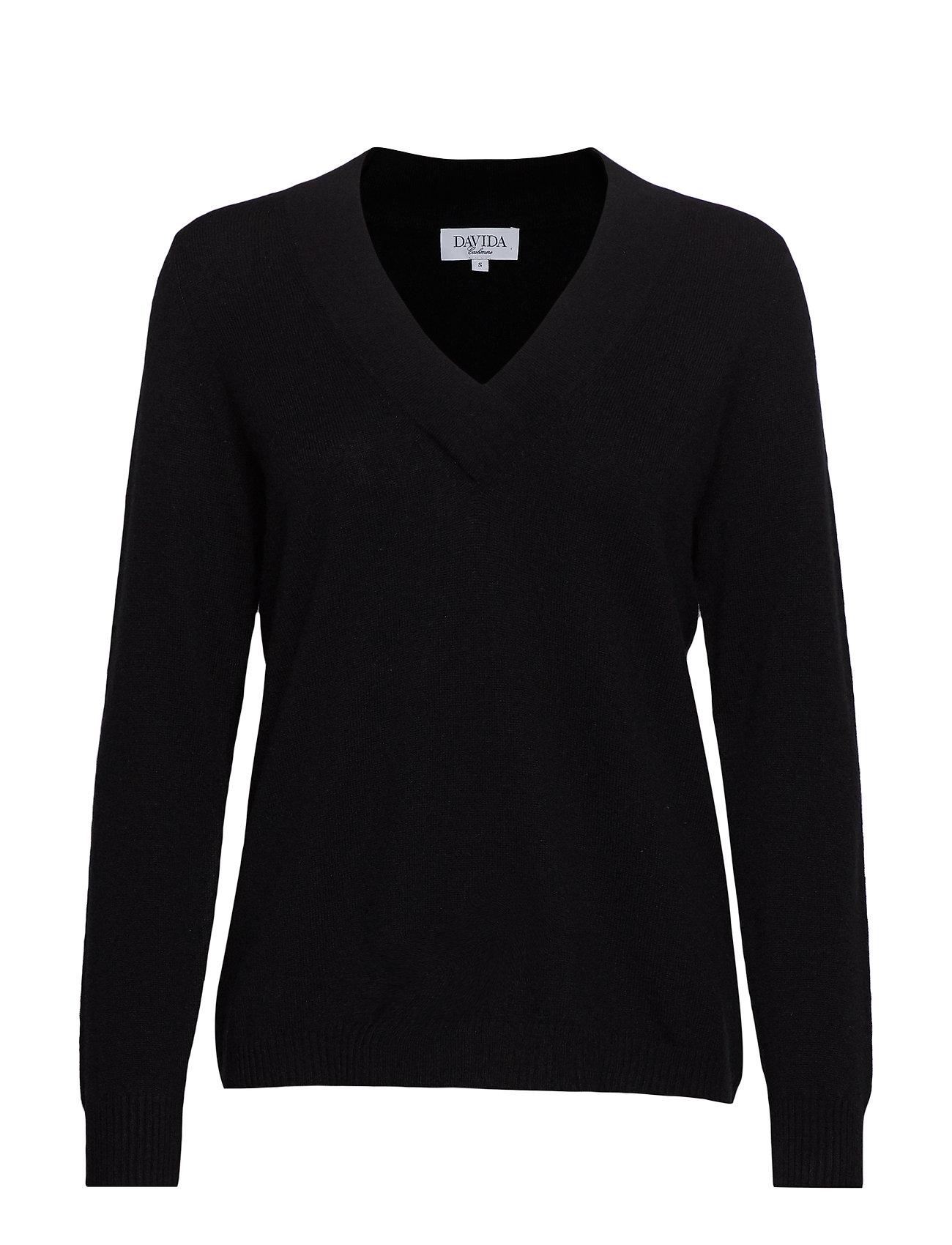 Davida Cashmere V-neck oversized sweater - BLACK