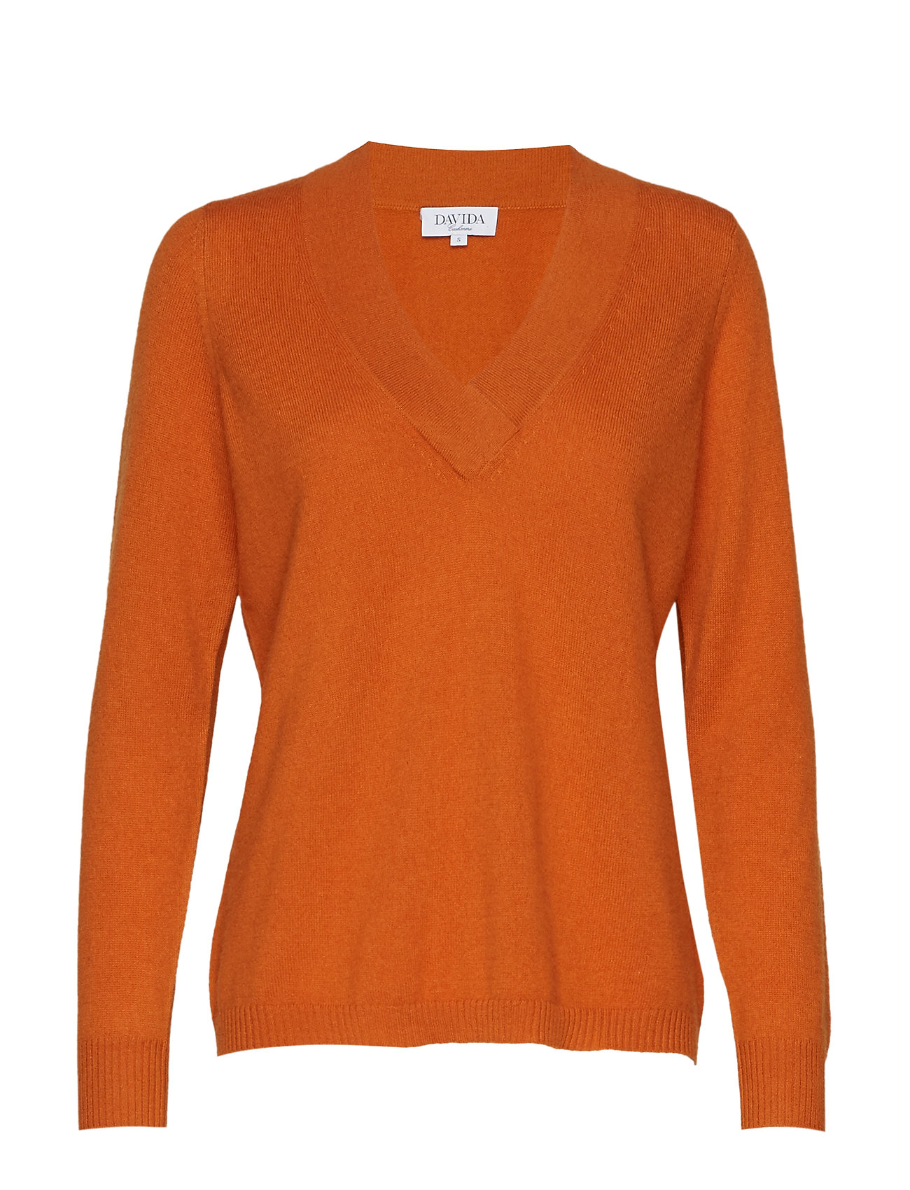 Davida Cashmere V-neck oversized sweater - RUST