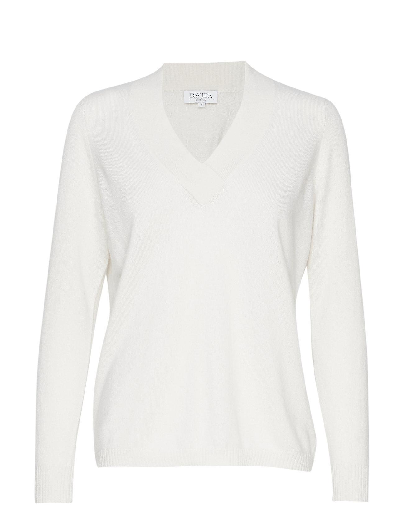 Davida Cashmere V-neck oversized sweater - WHITE