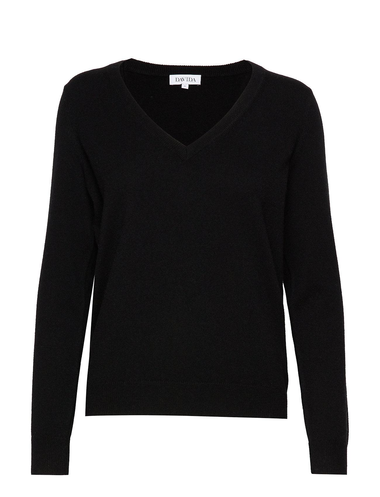 Davida Cashmere V-neck Loose Sweater - BLACK