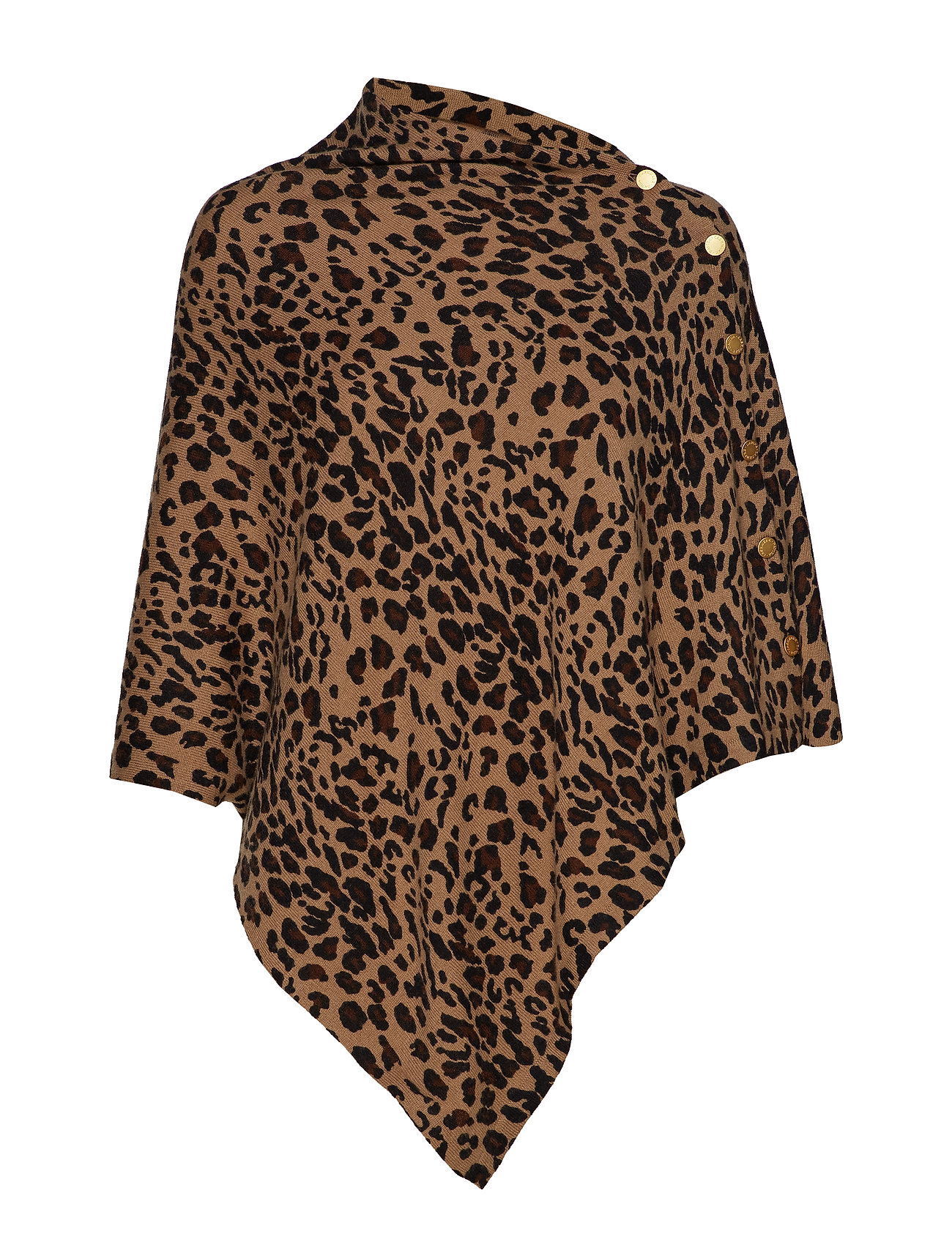 Davida Cashmere Poncho with Gold Buttons - ANIMAL DARK