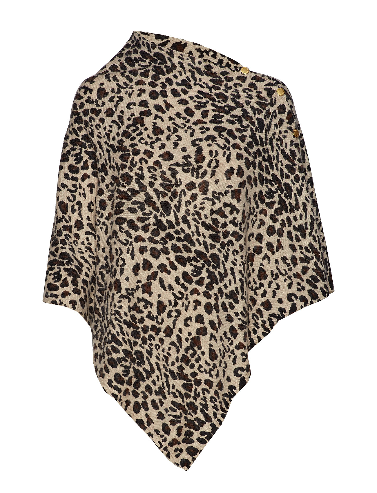 Davida Cashmere Poncho with Gold Buttons - ANIMAL LIGHT