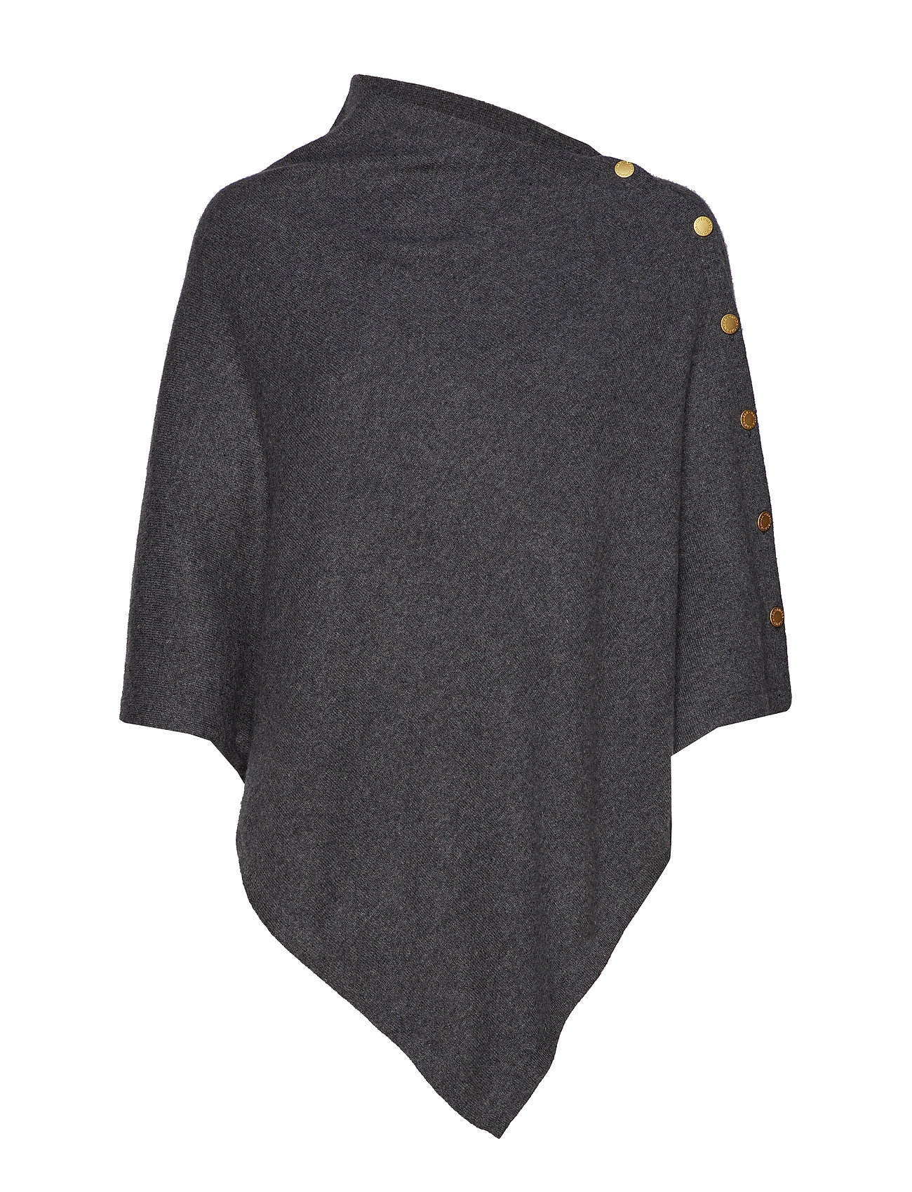 Davida Cashmere Poncho with Gold Buttons - DARK GREY