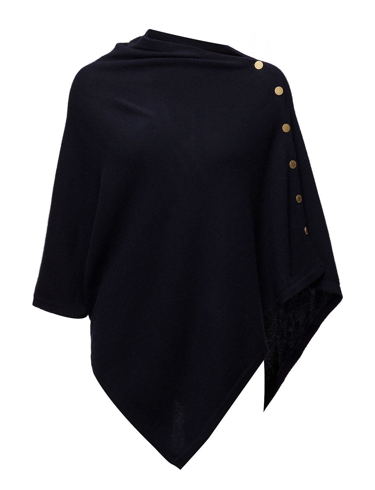 Davida Cashmere Poncho with Gold Buttons - NAVY
