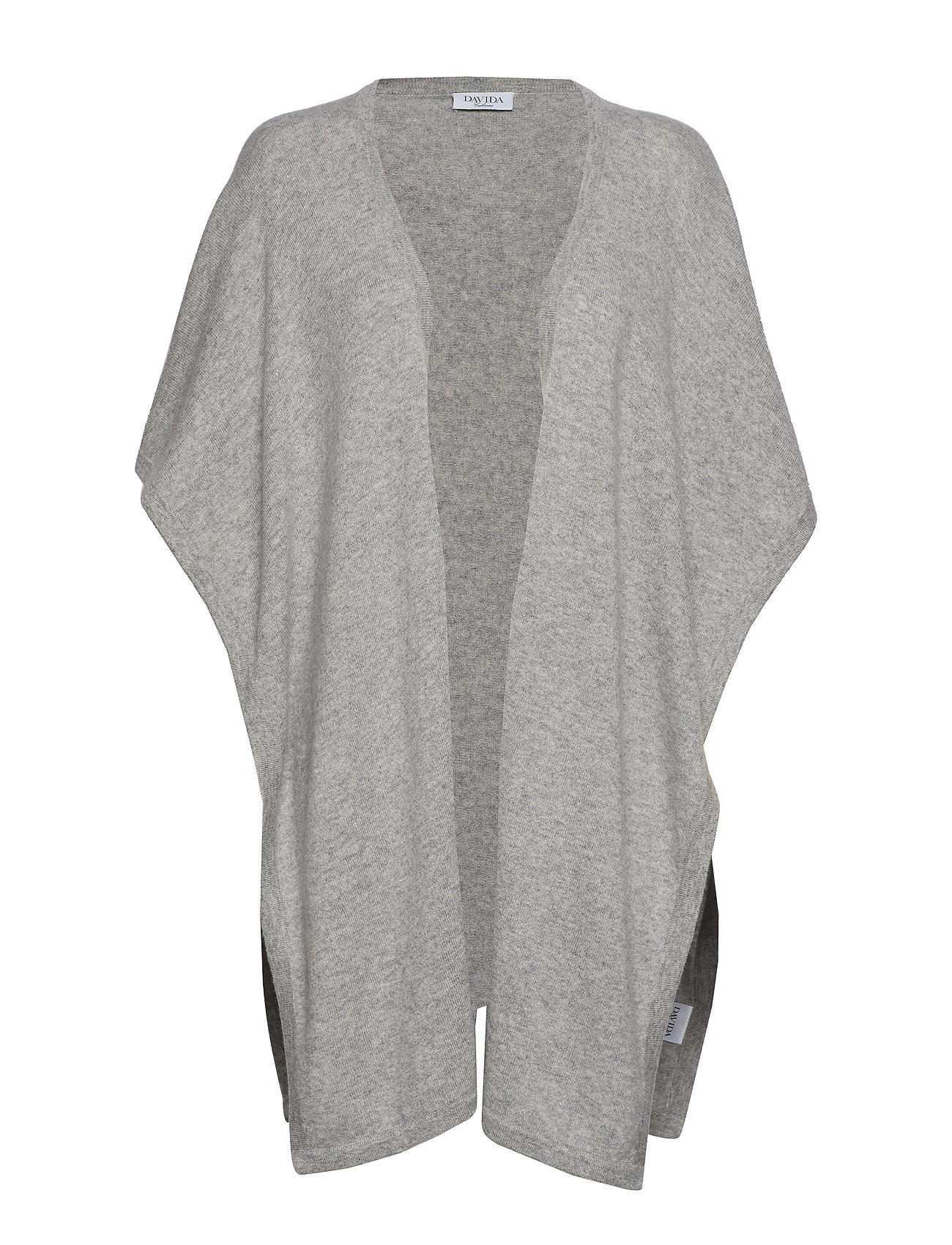 Davida Cashmere Open Poncho - LIGHT GREY