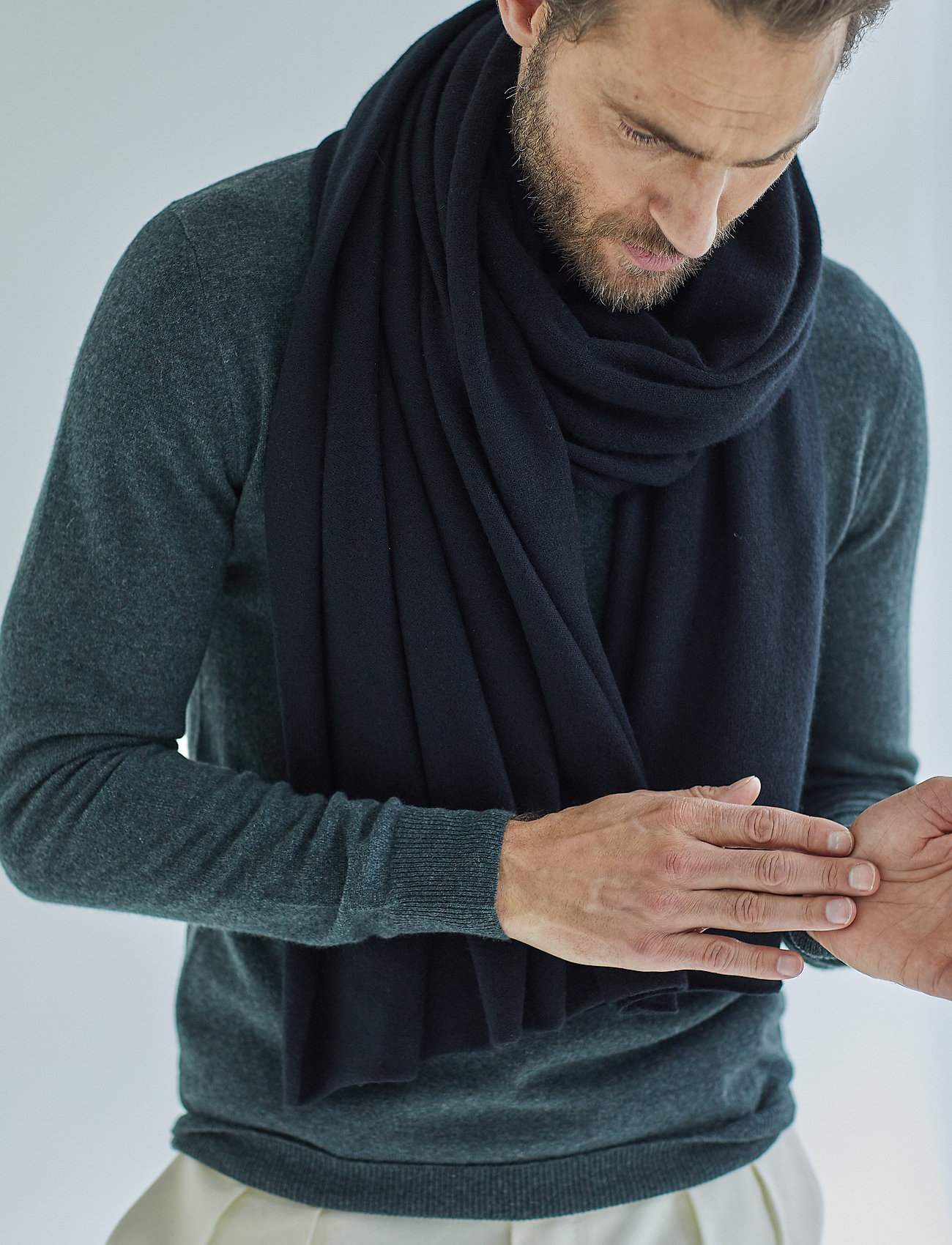 Davida Cashmere - Big Classic Scarf - scarves - black - 0