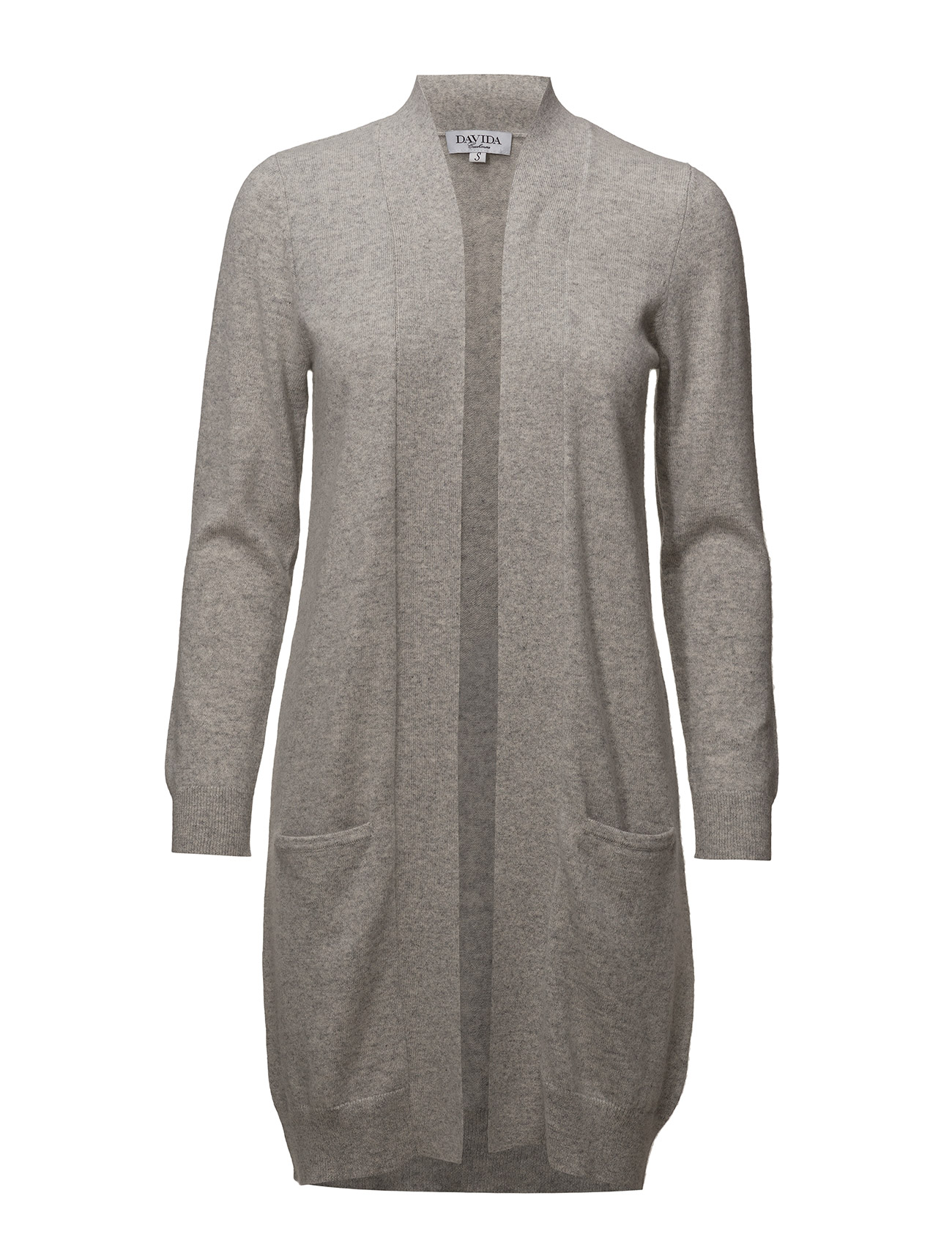 Davida Cashmere Pocket Long Cardigan - LIGHT GREY