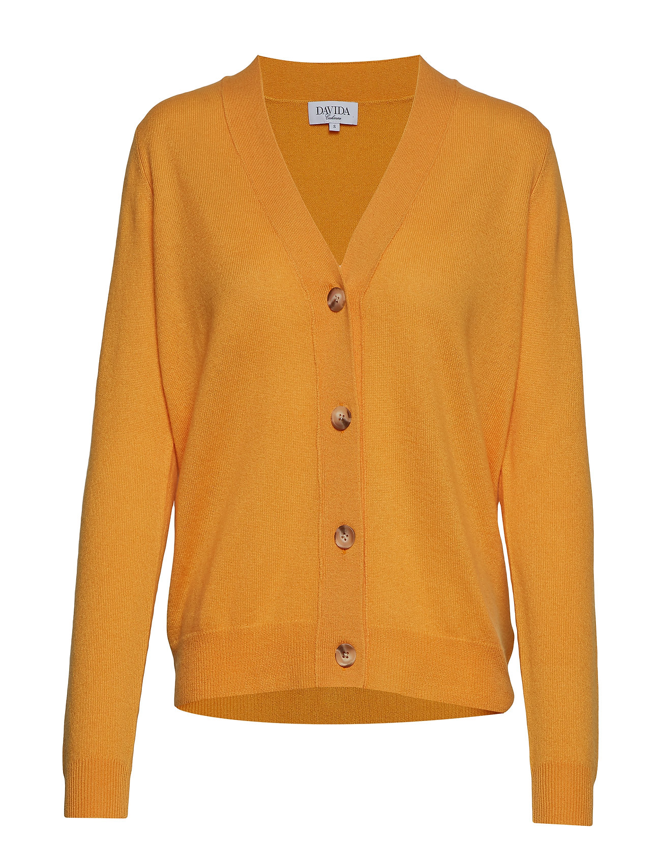 Davida Cashmere V-neck Boxy Cardigan - YELLOW