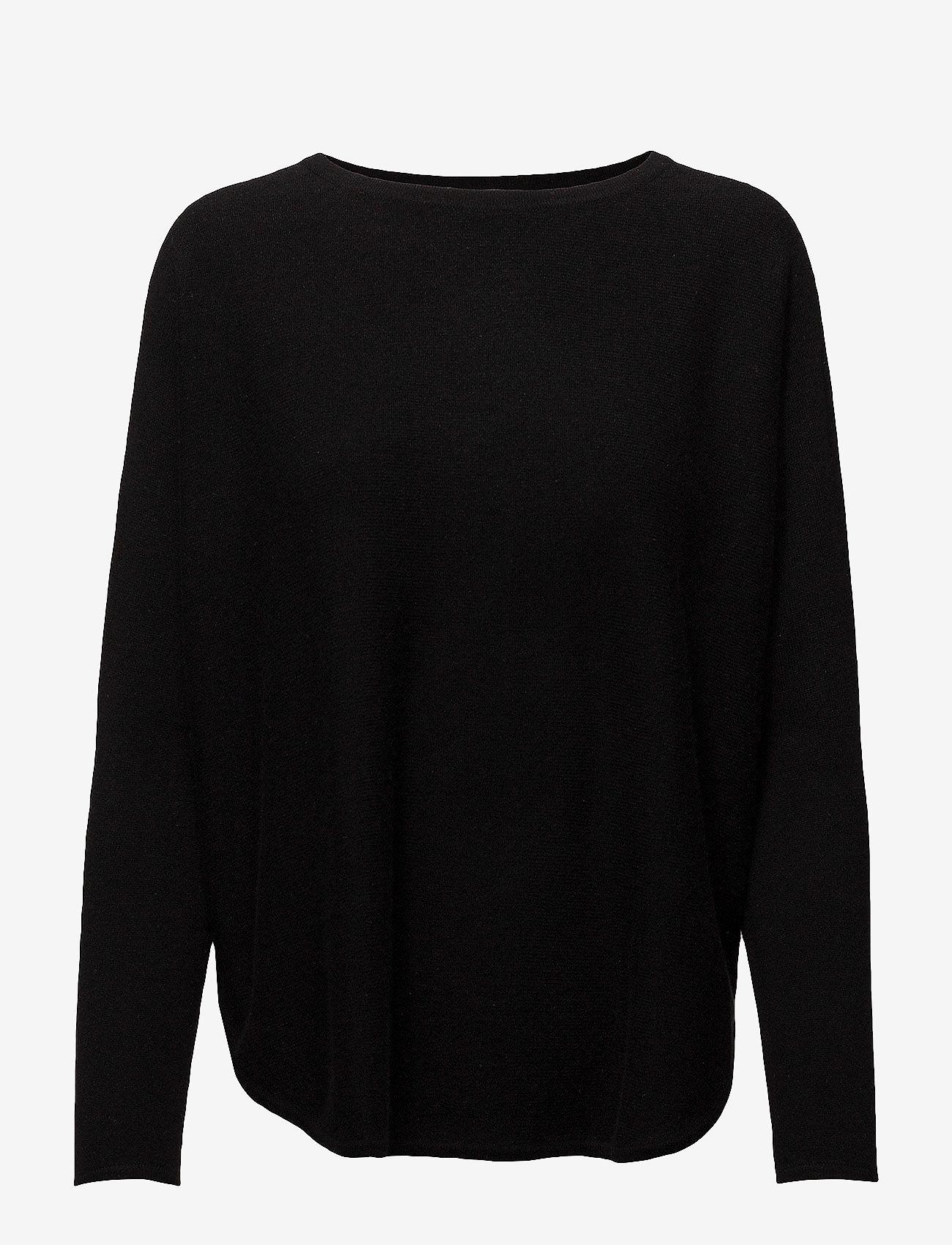 Davida Cashmere - Curved Sweater - sweaters - black - 1