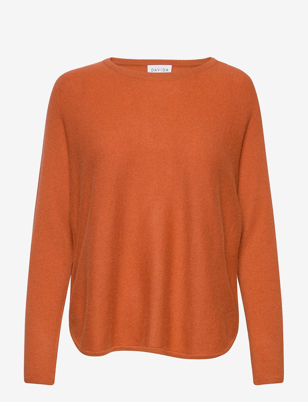 Davida Cashmere - Curved Sweater - sweaters - dark rust - 1