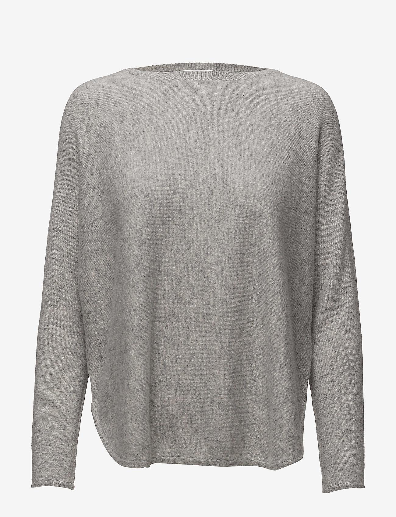 Davida Cashmere - Curved Sweater - sweaters - light grey - 1