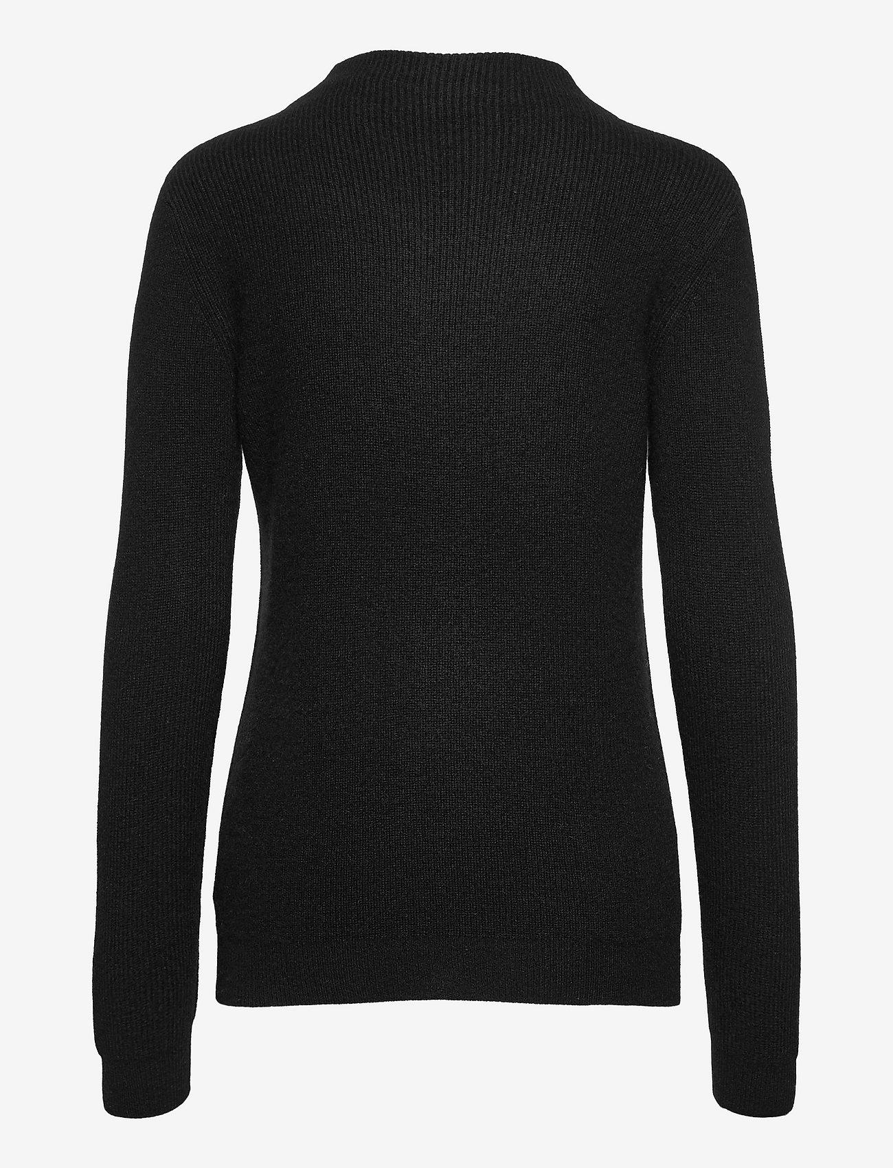 Davida Cashmere - Rib Funnel Neck Sweater - sweaters - black - 1