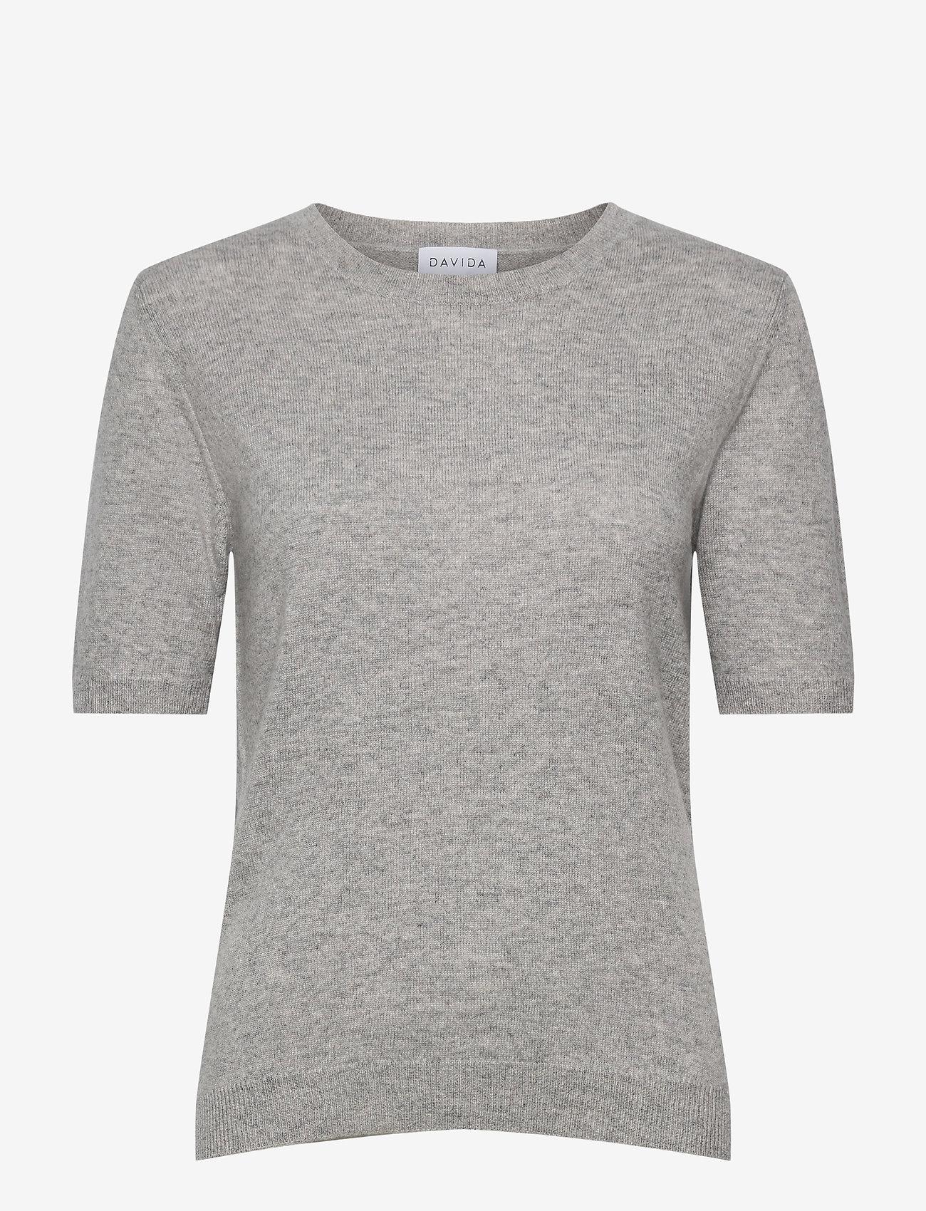 Davida Cashmere - T-shirt Oversized - knitted tops - ligth grey - 0