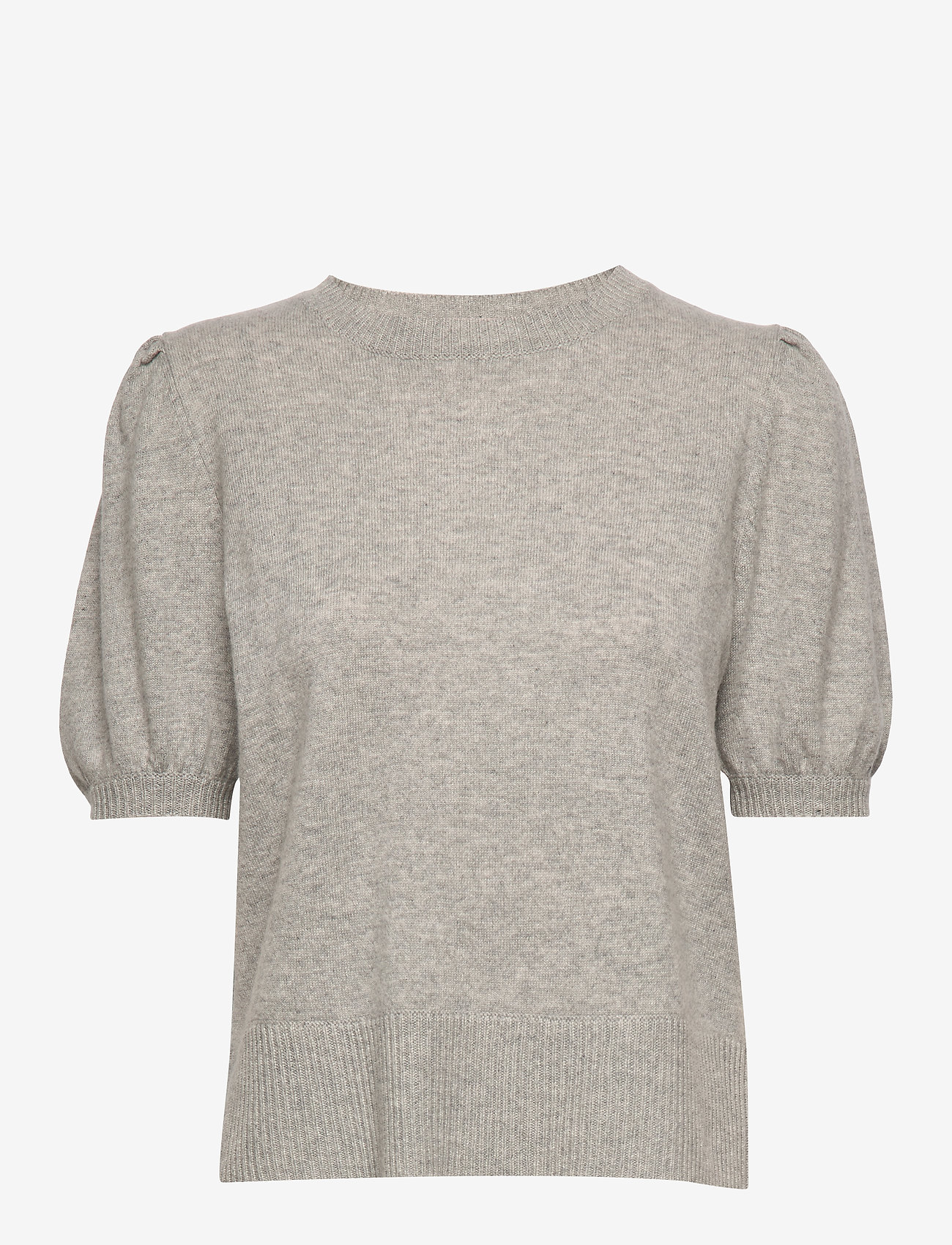 Davida Cashmere - Puff Shoulder Top - knitted tops - light grey - 0