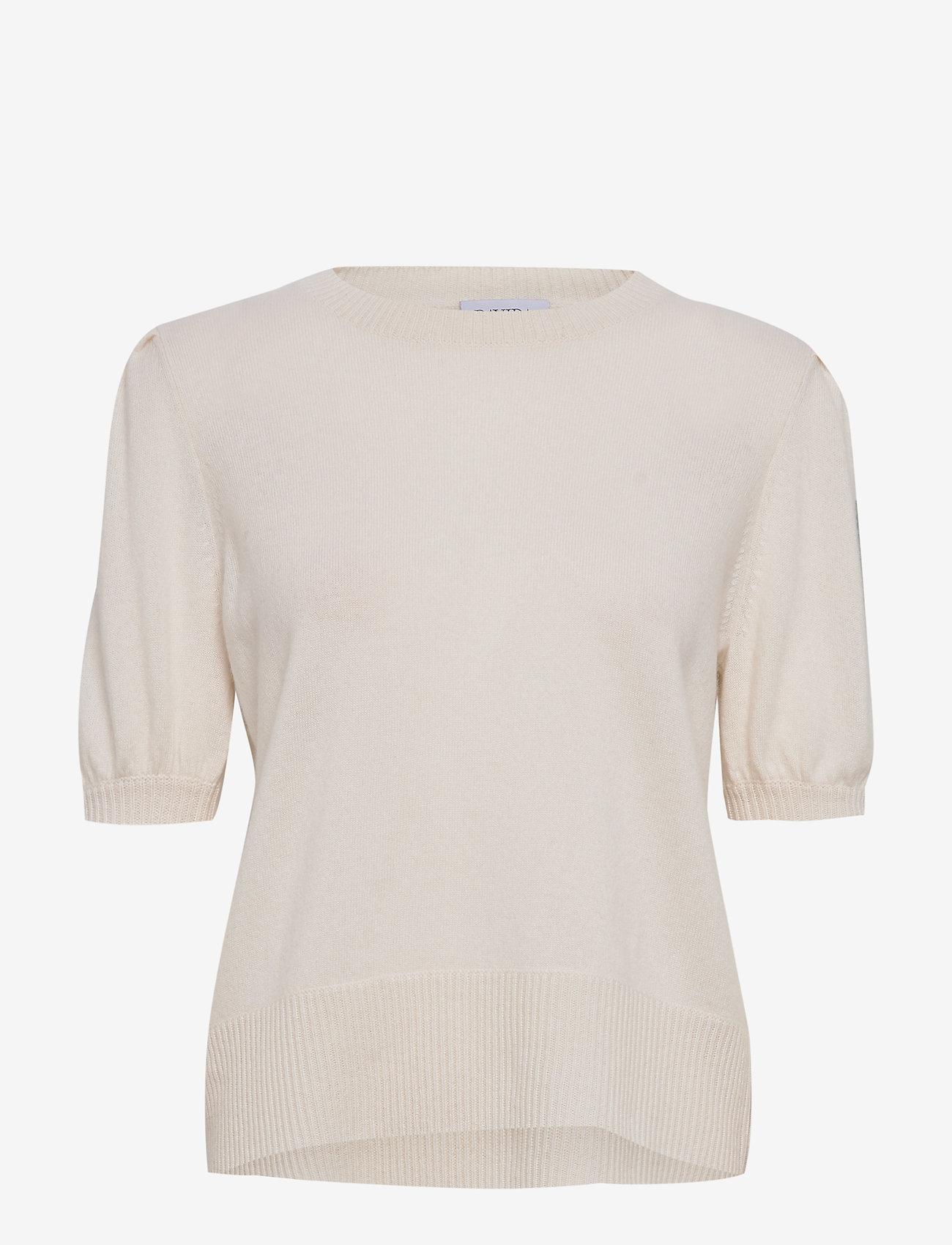 Davida Cashmere - Puff Shoulder Top - strikkede toppe - white - 0