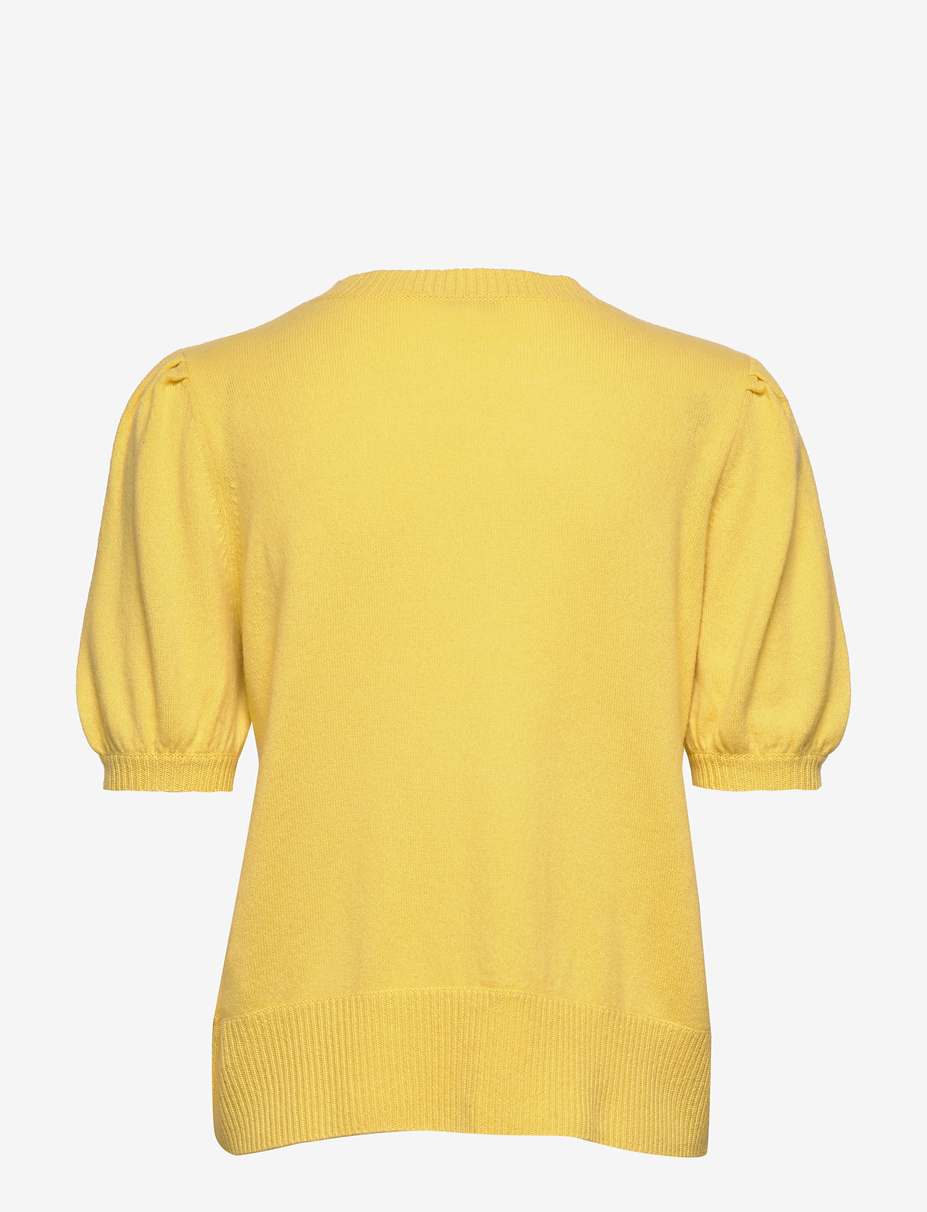 Davida Cashmere - Puff Shoulder Top - knitted tops - yellow - 1