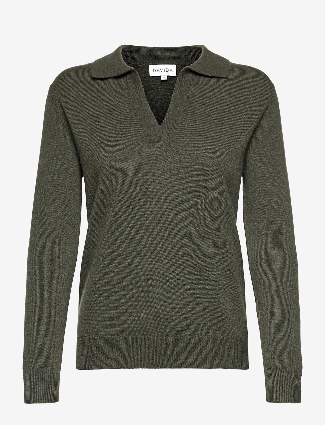 Davida Cashmere - Open Collar Sweater - sweaters - army green - 0