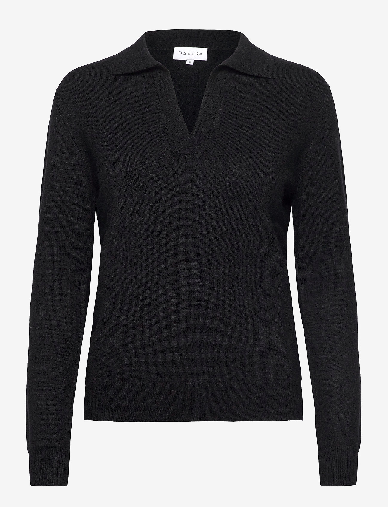 Davida Cashmere - Open Collar Sweater - sweaters - black - 0