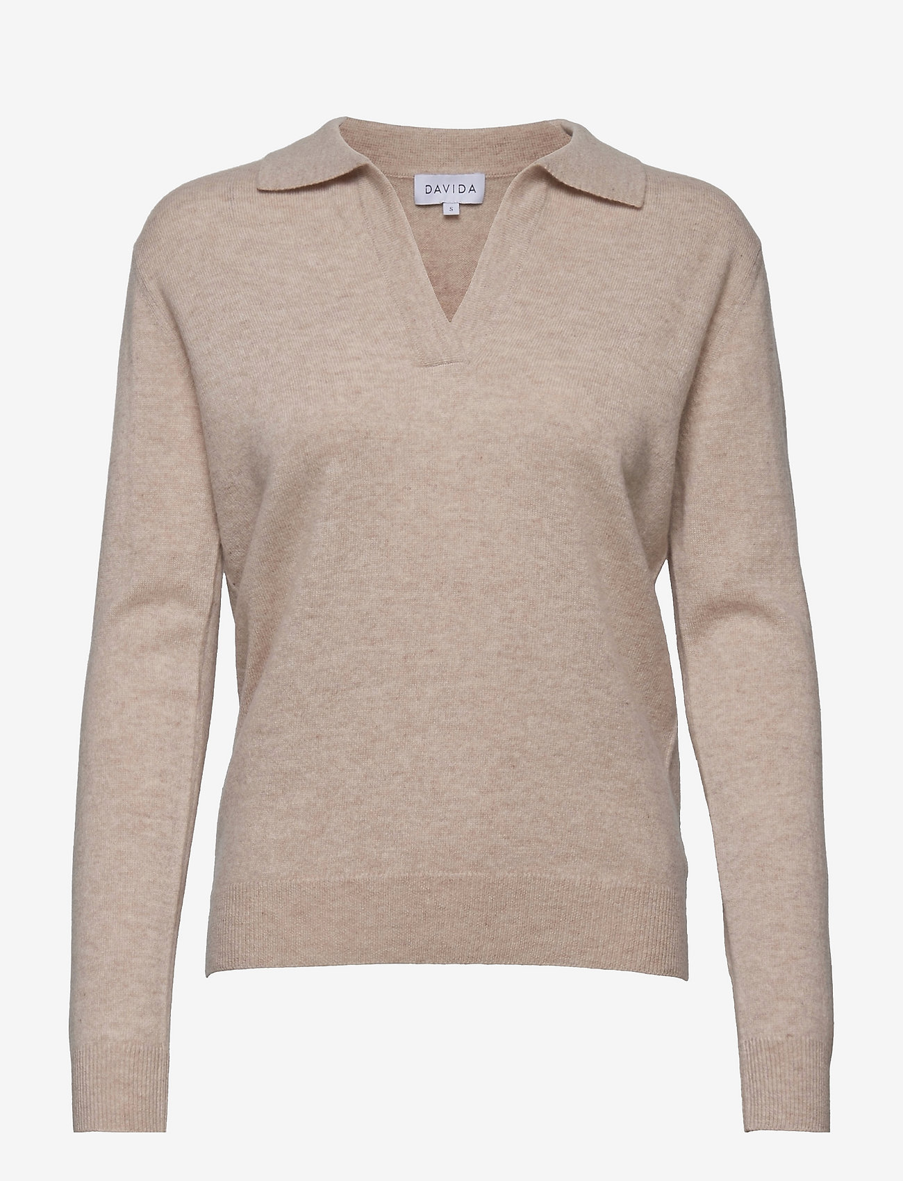 Davida Cashmere - Open Collar Sweater - sweaters - light beige - 0