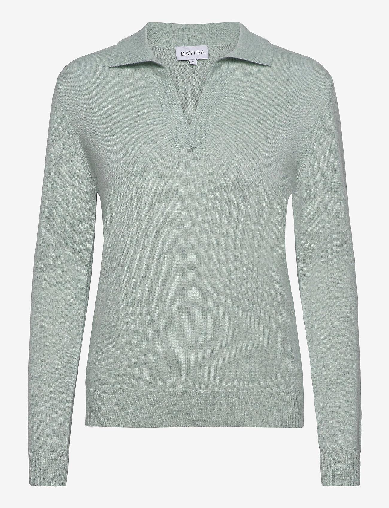 Davida Cashmere - Open Collar Sweater - sweaters - light green - 0