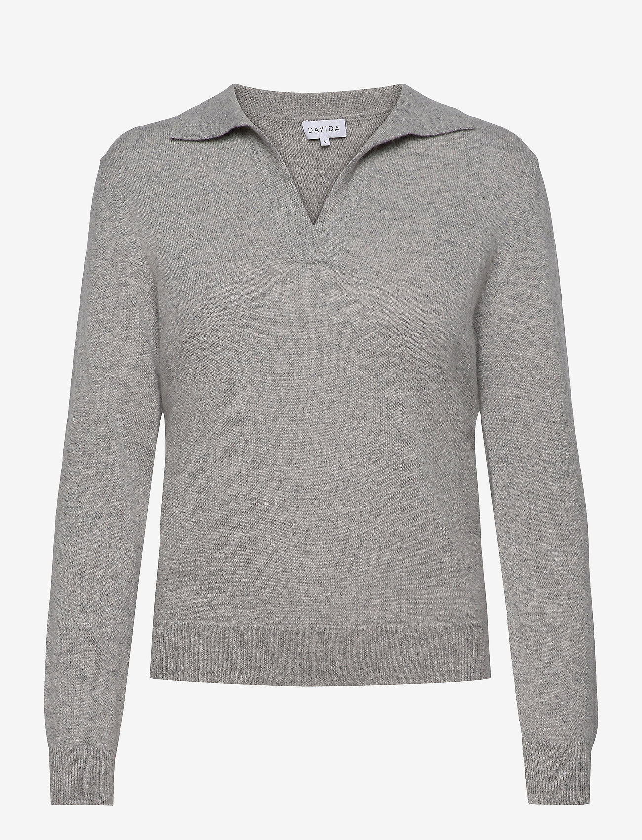 Davida Cashmere - Open Collar Sweater - sweaters - light grey - 0