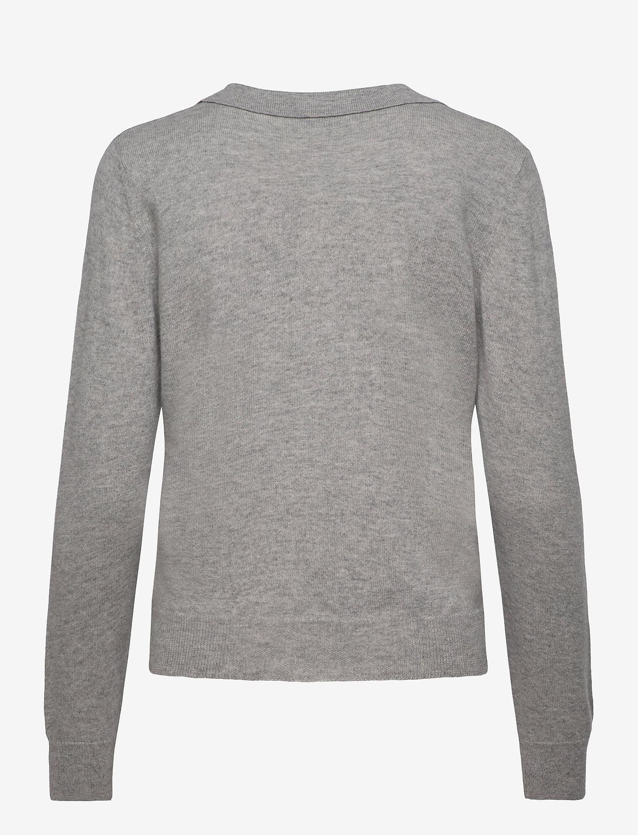 Davida Cashmere - Open Collar Sweater - sweaters - light grey - 1