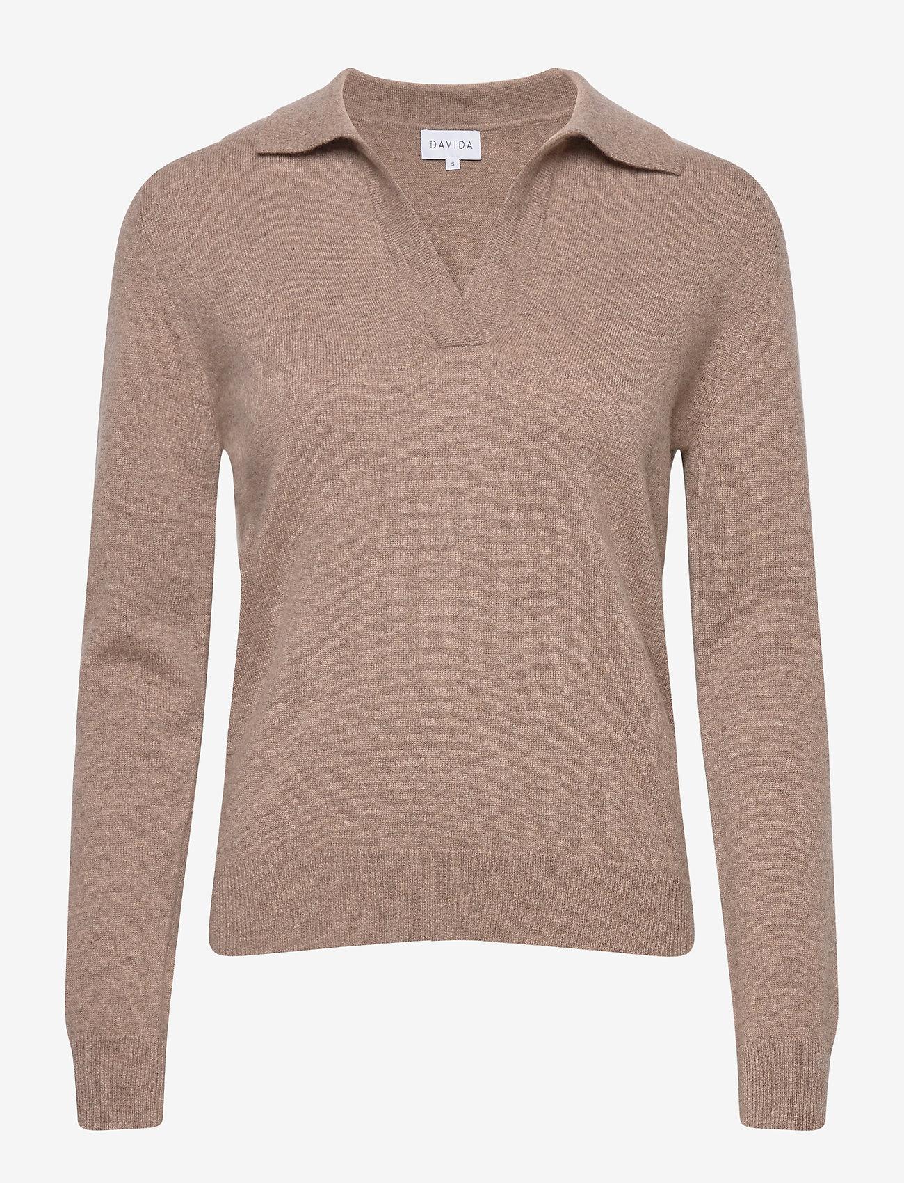 Davida Cashmere - Open Collar Sweater - sweaters - mink - 0