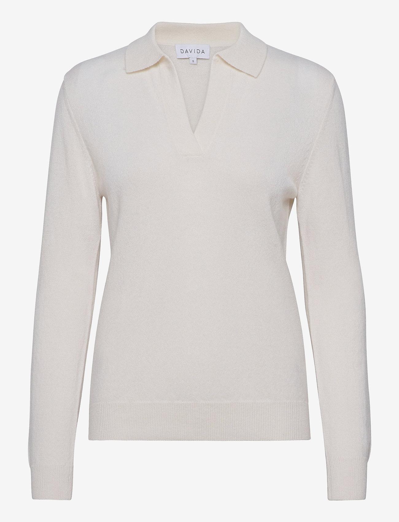 Davida Cashmere - Open Collar Sweater - sweaters - white - 0