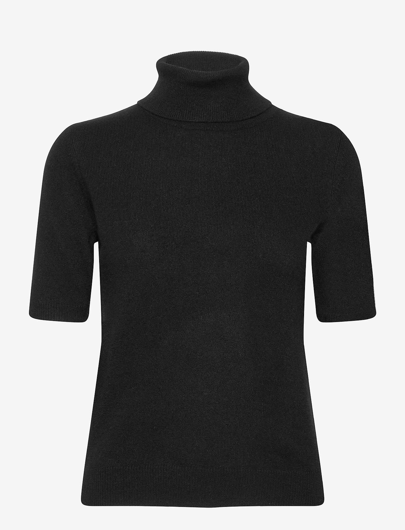 Davida Cashmere - Turtleneck T-shirt - knitted tops - black - 0