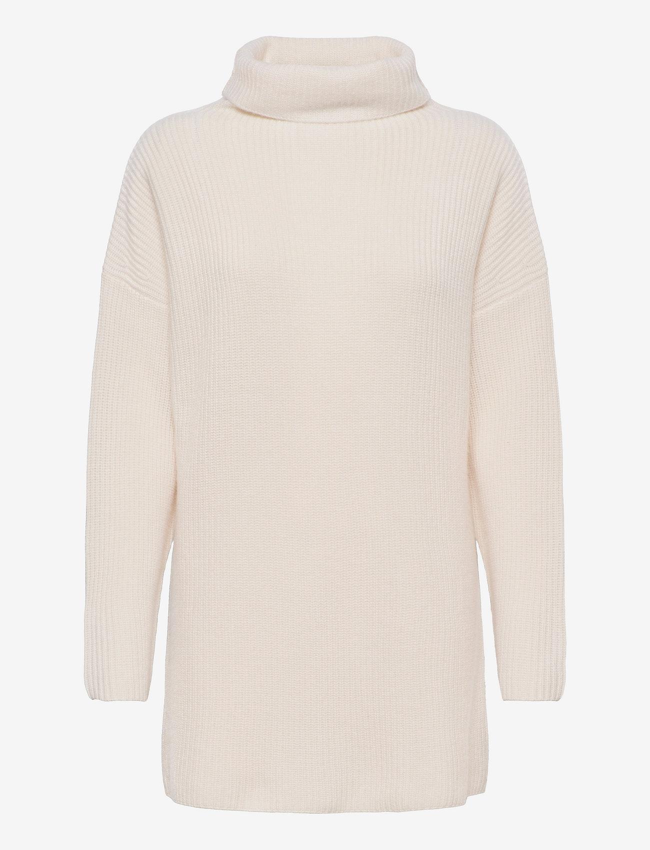 Davida Cashmere - Oversized Rib Sweater - turtlenecks - white - 0