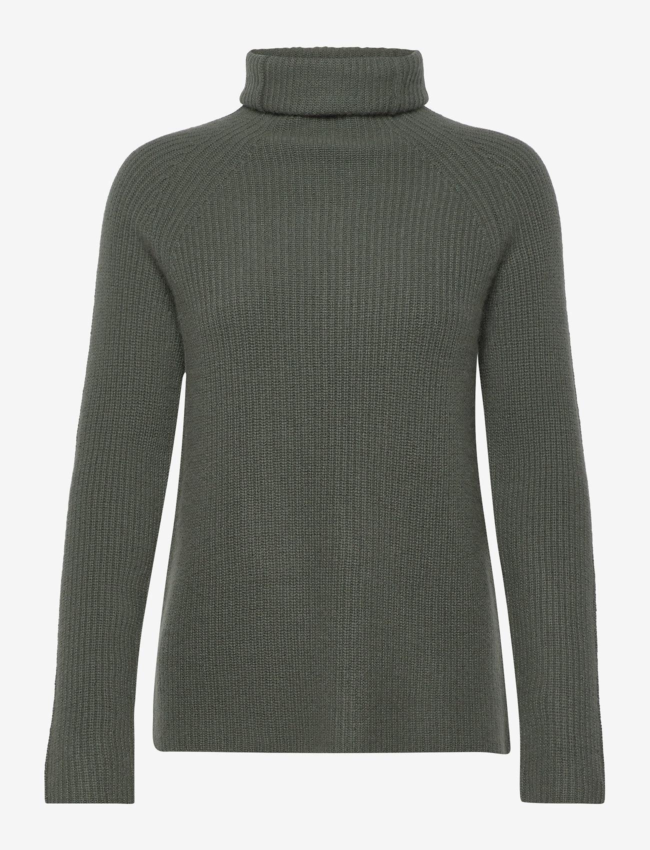 Davida Cashmere - Raglan Rib Loose Fit Sweater - cashmere - army green - 1