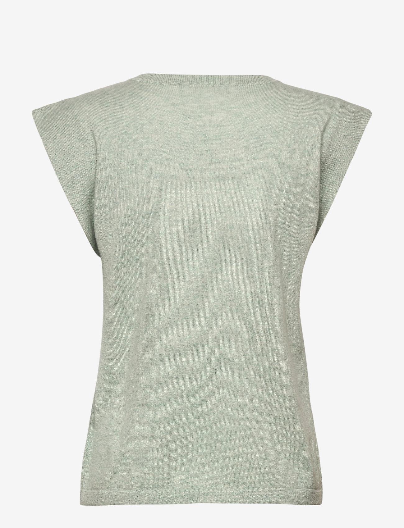 Davida Cashmere - Shoulder Detail Tank - knitted vests - light green - 1