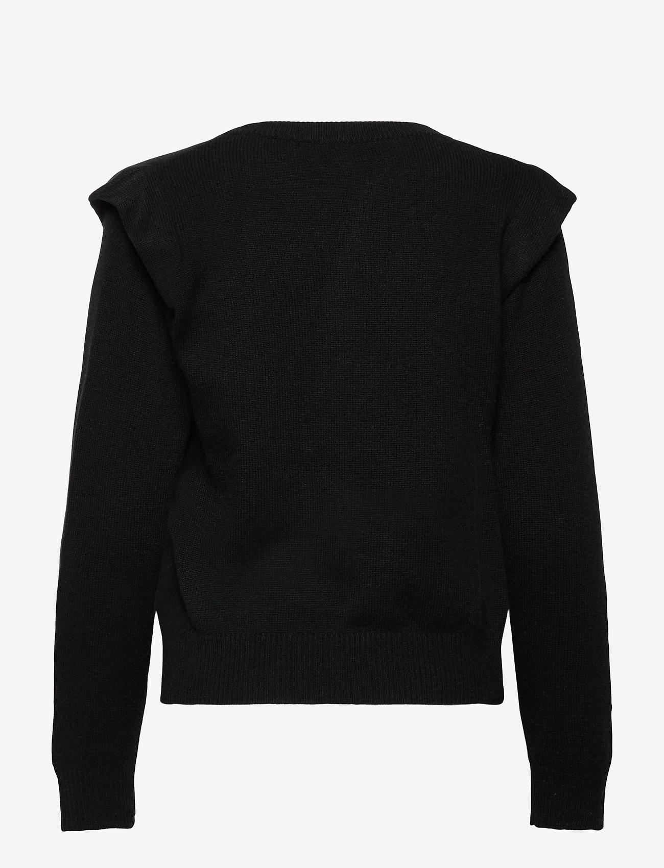 Davida Cashmere - Shoulder Fold Sweater - sweaters - black - 1