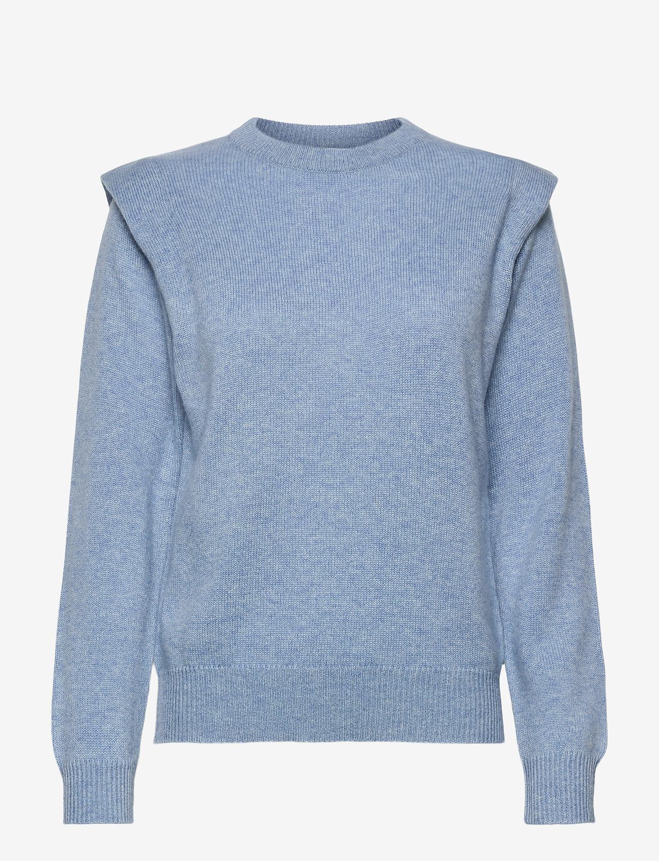Davida Cashmere - Shoulder Fold Sweater - sweaters - dusty light blue - 0