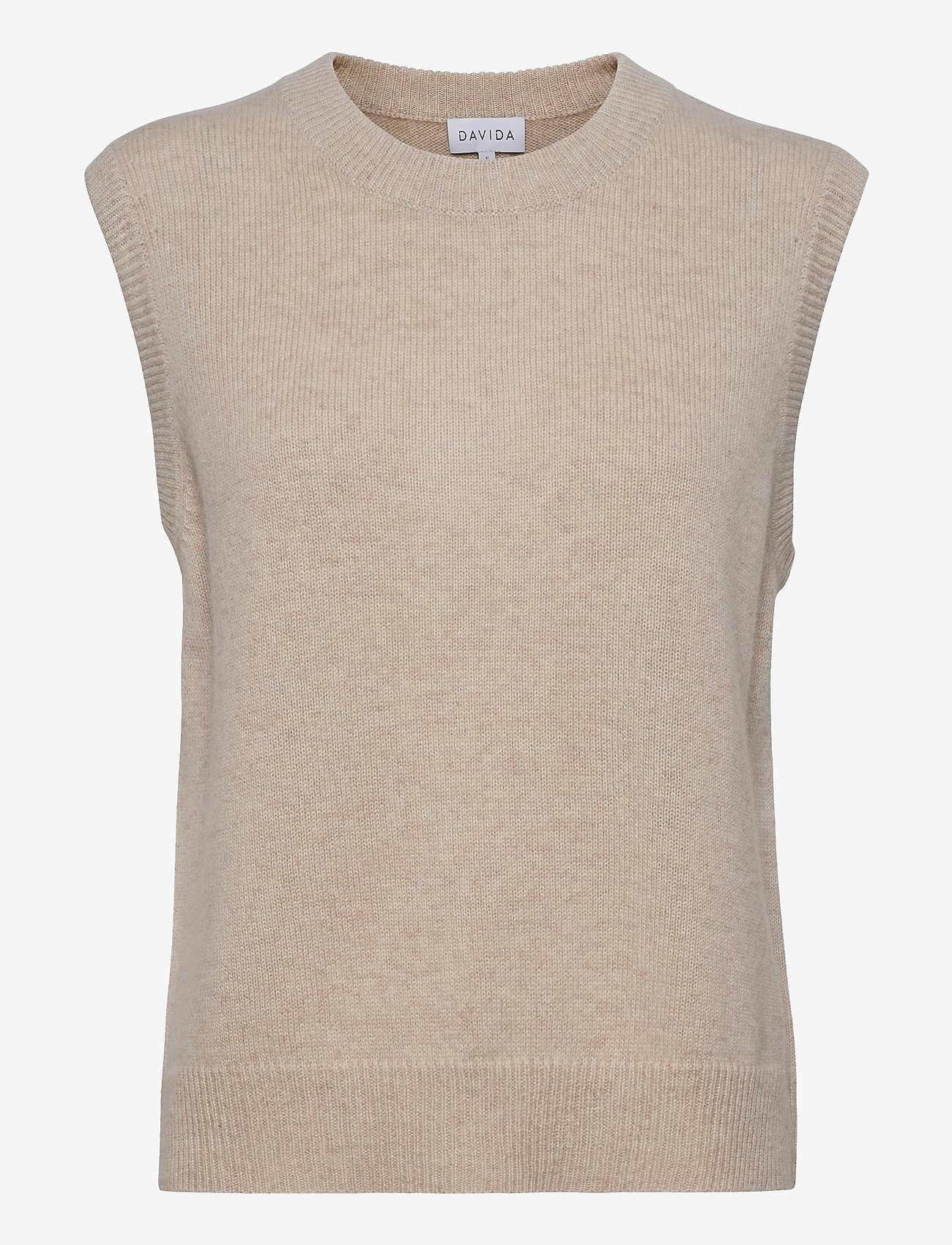 Davida Cashmere - O-neck Vest - knitted vests - light beige - 1