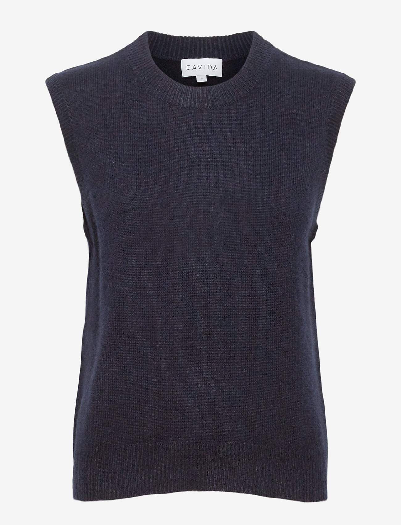 Davida Cashmere - O-neck Vest - knitted vests - navy - 0