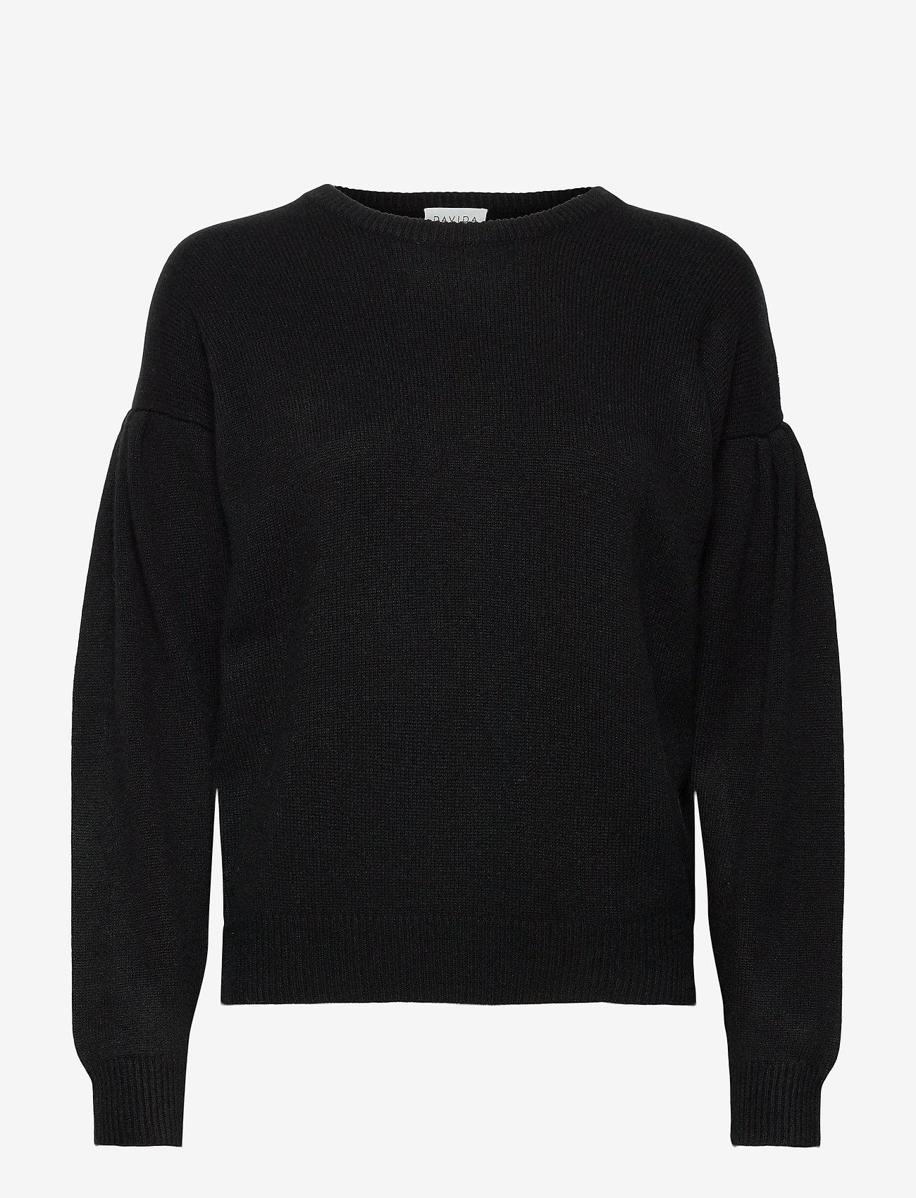 Davida Cashmere - Volume Sleeve Sweater - sweaters - black - 0