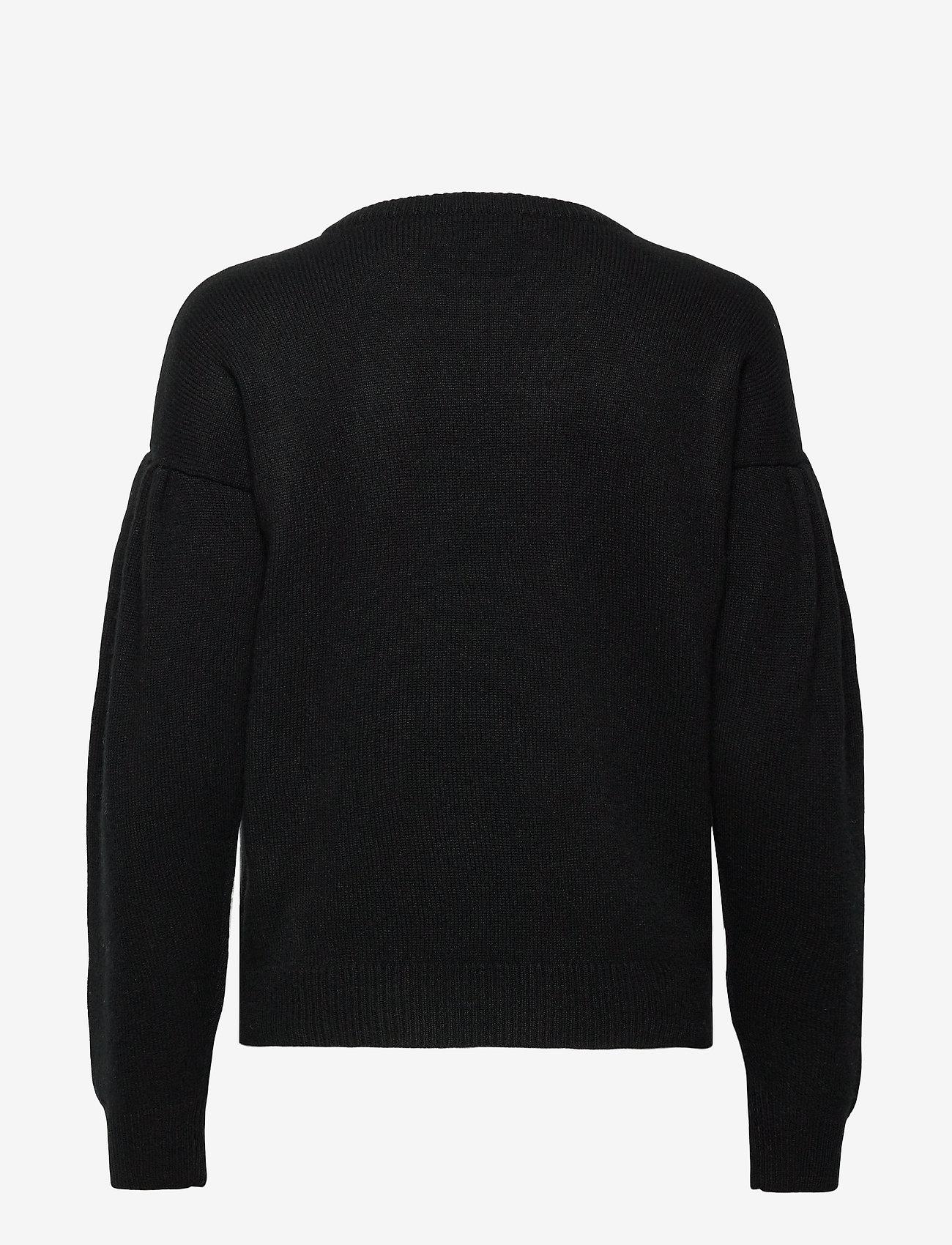 Davida Cashmere - Volume Sleeve Sweater - sweaters - black - 1