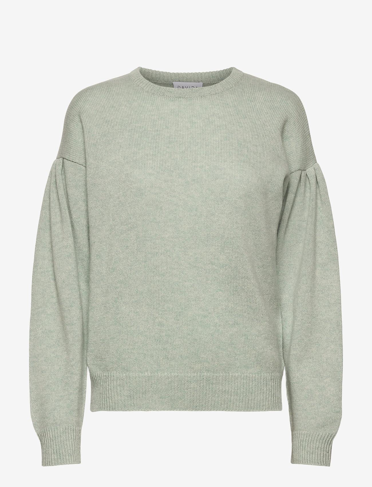 Davida Cashmere - Volume Sleeve Sweater - sweaters - light green - 1