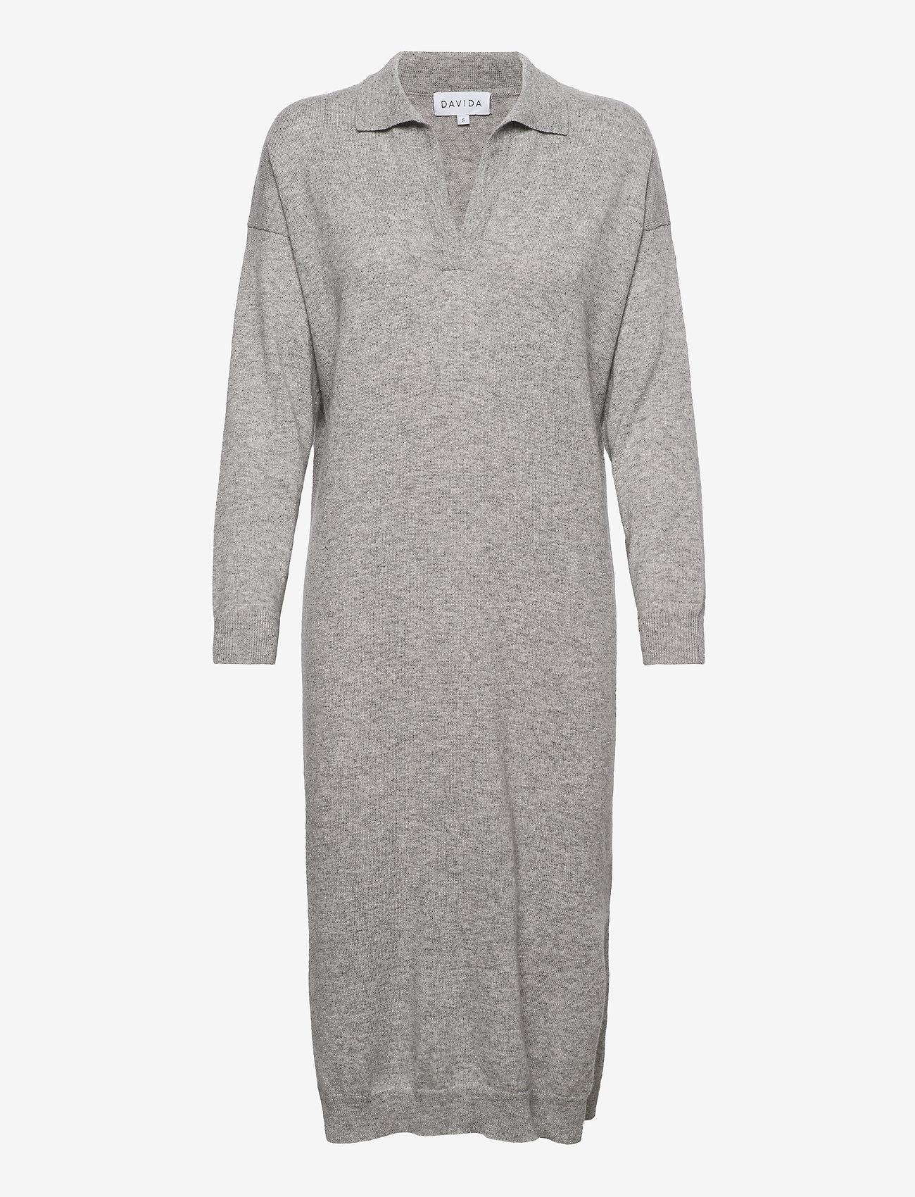 Davida Cashmere - Open Collar Dress - midi dresses - light grey - 0