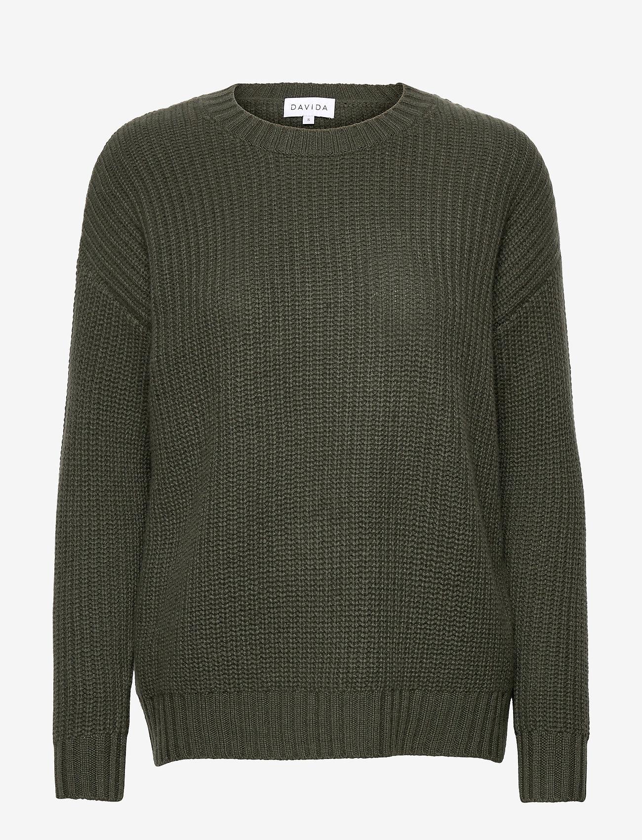 Davida Cashmere - Chunky Knit Rib Sweater - jumpers - army green - 0