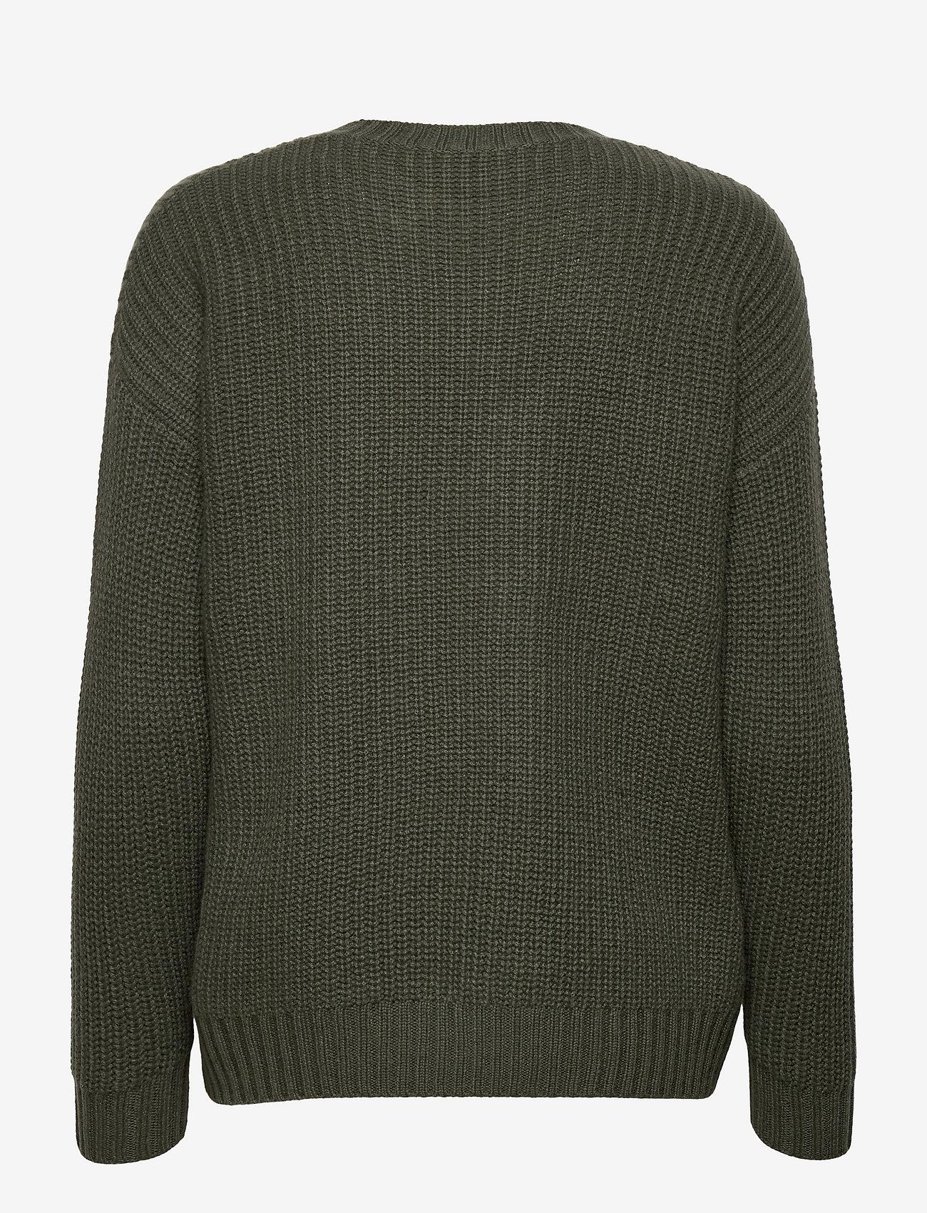 Davida Cashmere - Chunky Knit Rib Sweater - jumpers - army green - 1