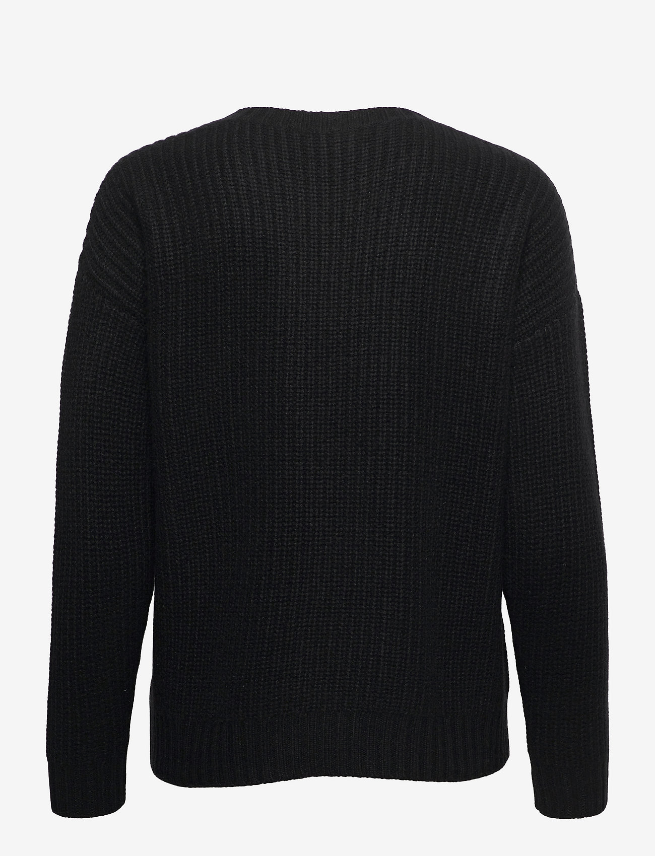 Davida Cashmere - Chunky Knit Rib Sweater - jumpers - black - 1