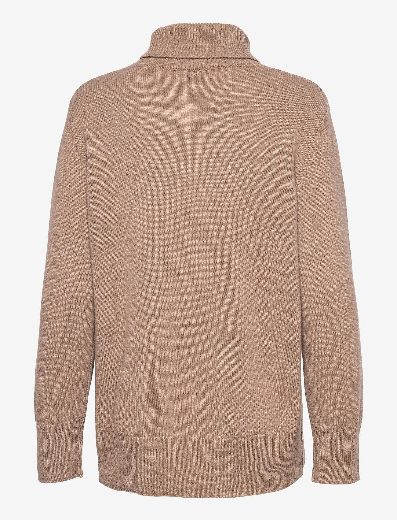 Davida Cashmere - High Collar Oversized Sweater - turtlenecks - mink - 1