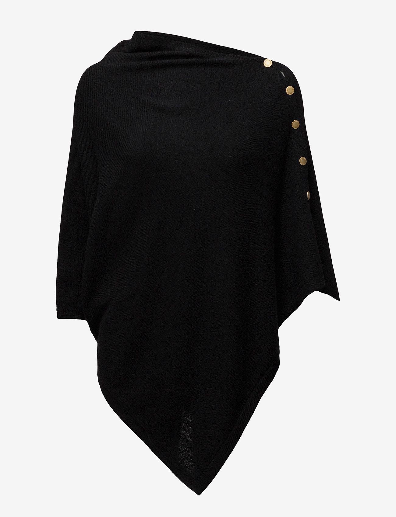 Davida Cashmere - Poncho Gold Buttons - ponchos & capes - black - 1