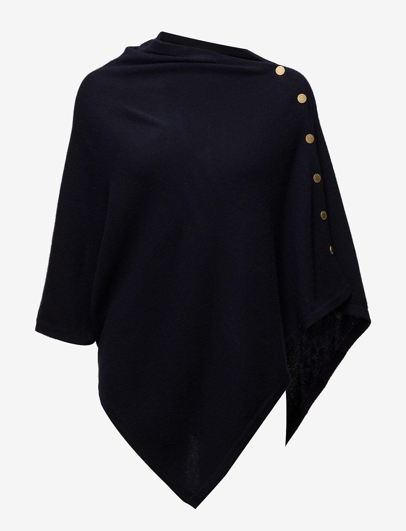 Davida Cashmere - Poncho Gold Buttons - kaschmir - navy - 1
